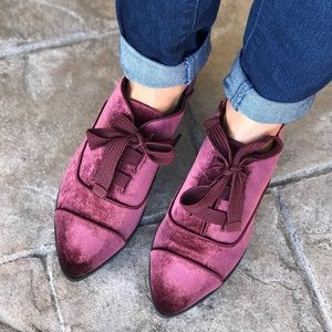 Red Wine Velvet Soft Lace Boyfriend Loafers